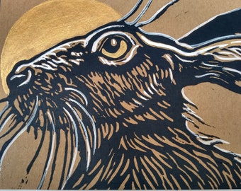 Pack of 2 handprinted linocut cards of a Moon Hare