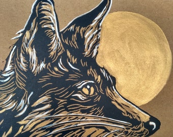 Pack of 2 handprinted linocut cards of a Moon Fox