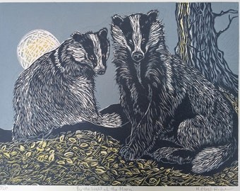 By the Light of the Moon is an original, handprinted, limited edition linocut.