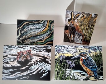 Pack of 4 linocut design wildlife greeting cards featuring a hare, an otter, a kingfisher and mackerel