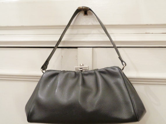 chic grey 40s 50s leather handbag