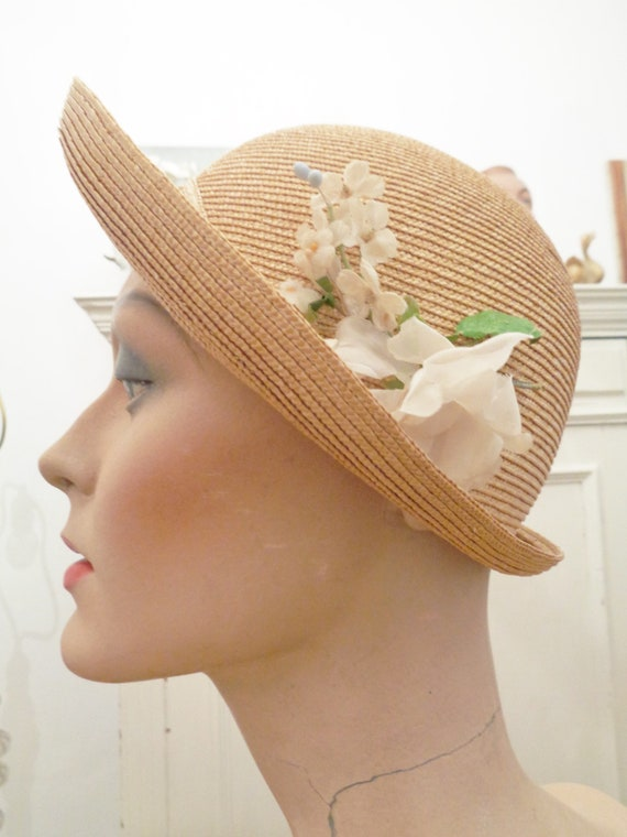 enchanting straw hat flowers natural white 30s 40s