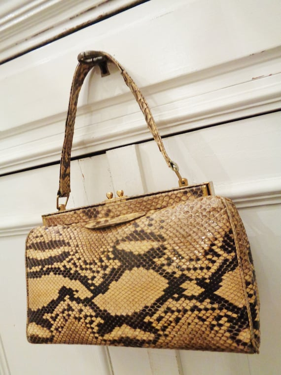 great 40s handbag lizard beige brown