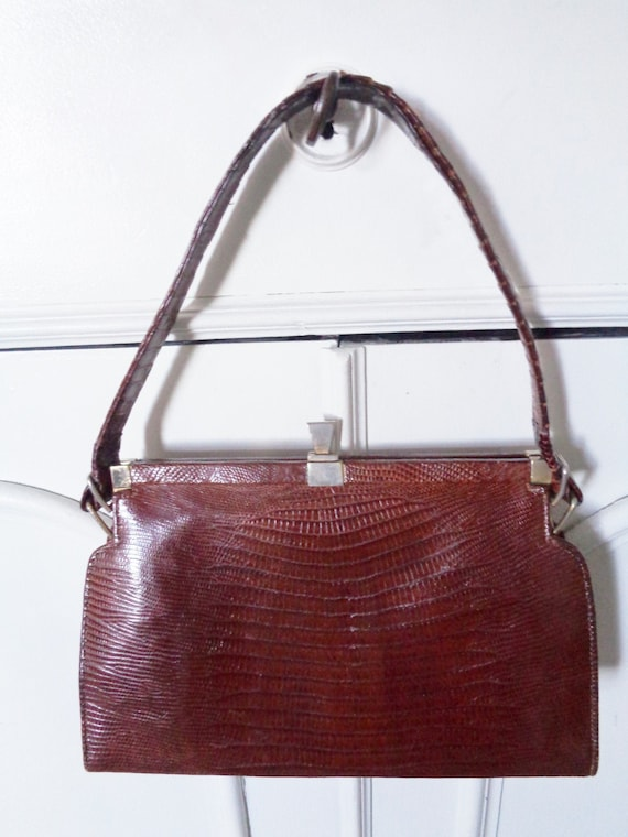 chic brown handbag 40s 50s lizard