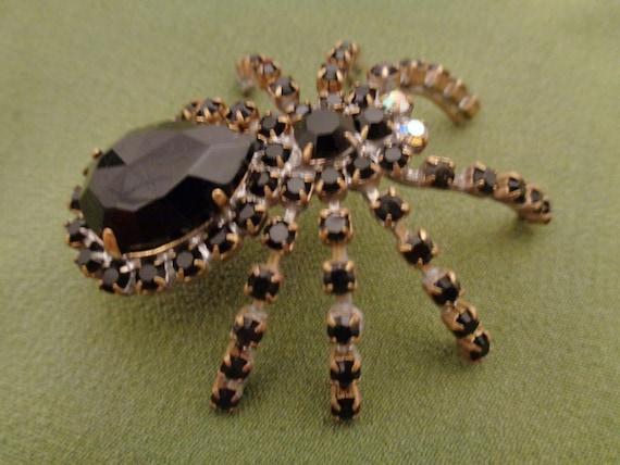 large 40s brooch black rhinestone spider