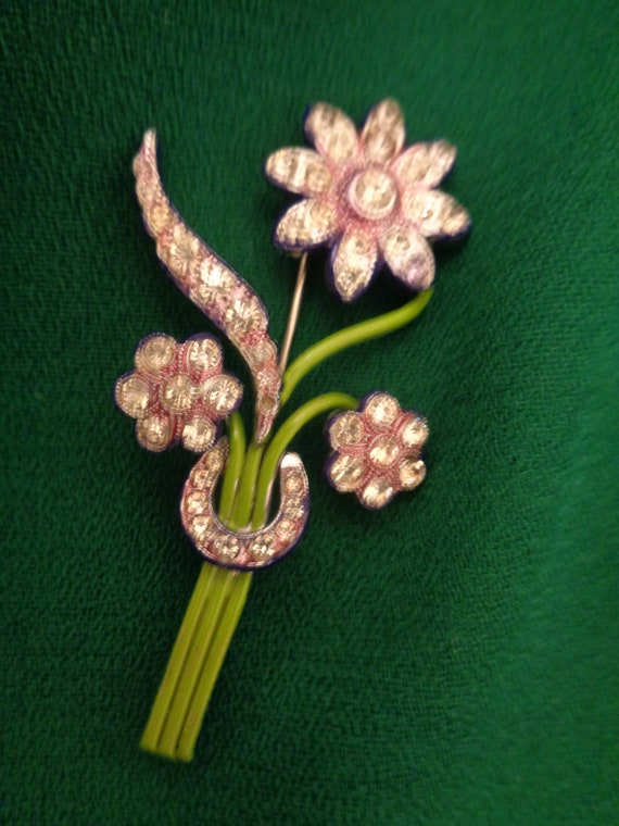Art Deco Brooch Flower 40s 50s Green