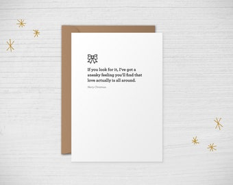 """Letterpress Quoteable Christmas Card - """"Love Actually is All Around"""" Love Actually"""