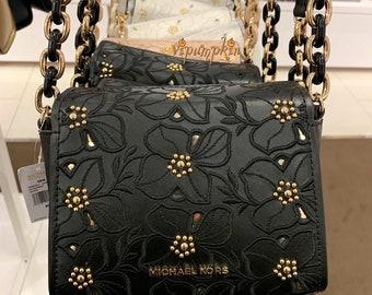 a36a34c00d053f Michael Kors Sofia Mini Crossbody Flower Stud Small Leather Bag XS Black