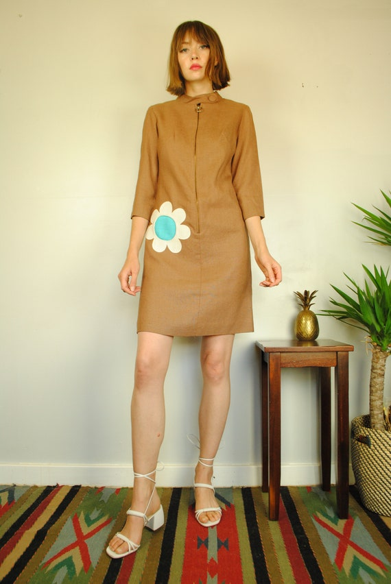 Vintage Dress, 60's, Mod, Cute, Flower Power, Psyc