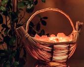 Himalayan Salt Lamp Wicker Shaped Boat Basket Salz Steh Lampe Crystal Lamps