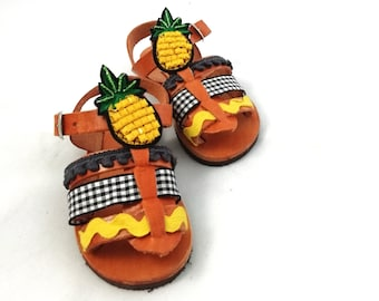 8af4d524a0d Pineapple baby shoes ~ Unisex kids sandals fruit made in Greece.