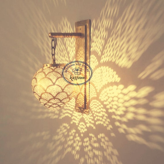 Moroccan Wall Sconce, Moroccan Wall Light, Brass lamp, Turkish Sconce Handmade, Moroccan Home Decor