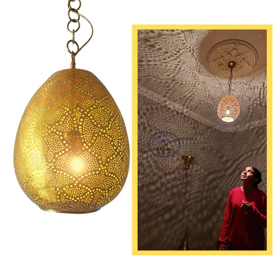 Moroccan lamp - antique brass ceiling light that radiates warmth and tranquillity