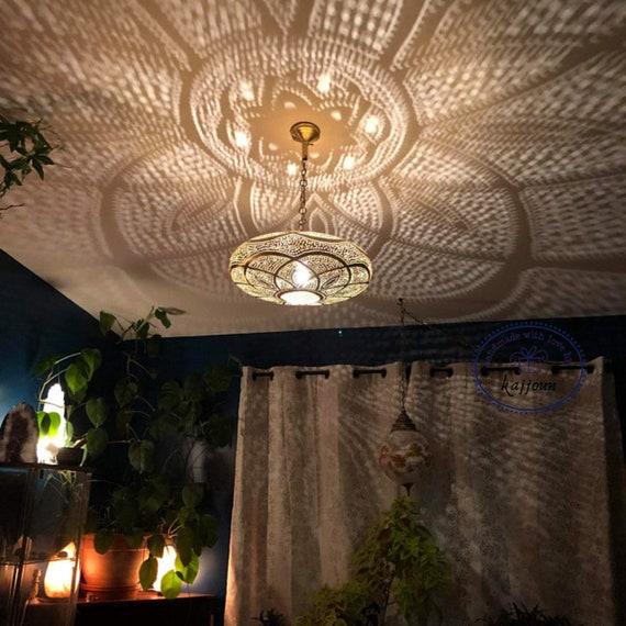 Modern Night Light kajjoun Pendant Light, Brass Copper Lamp Shades Boho Lighting Bedroom