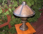 Antique Early Lillian Palmer Bronze Base with Mica Shade Table Lamp w5381