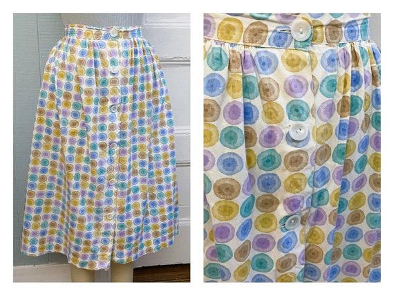 Vintage 50s/60s Circle Dot Gathered A-Line Skirt B