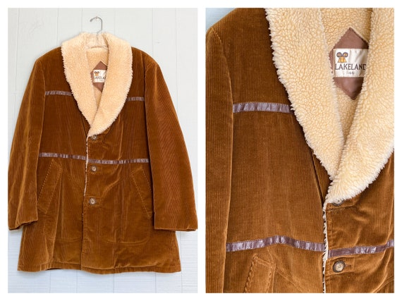 VINTAGE 70's LAKELAND Brown Corduroy Leather Sheep