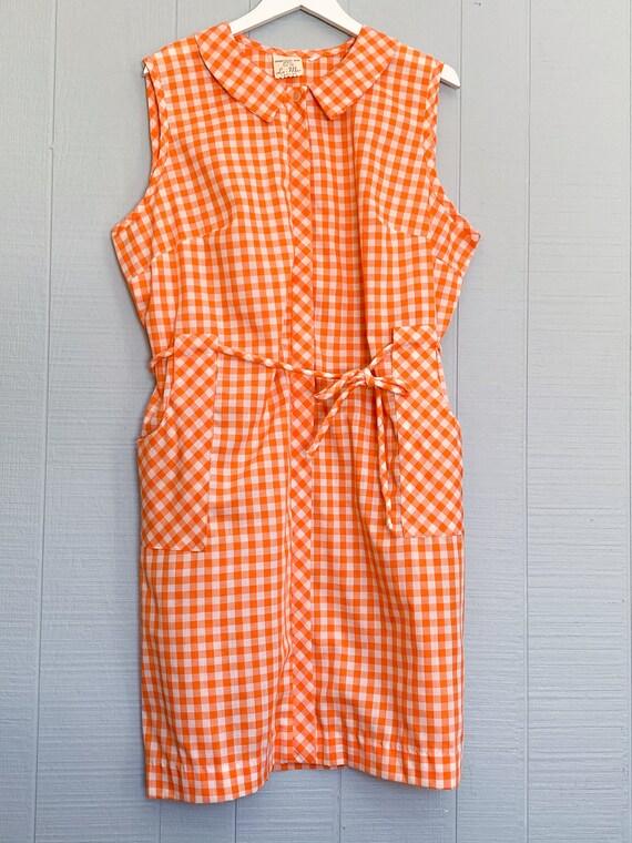 VINTAGE 1960's 1970's Cotton Orange Gingham Checke