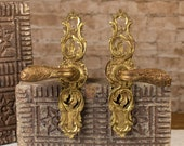Vintage Antique Architectural Salvage Solid Brass Double Door Hardware Set