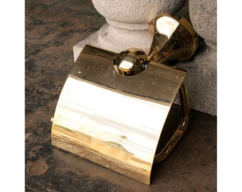 Salvaged Wall Mount Brass Toilet Paper Holder with Cover Flap