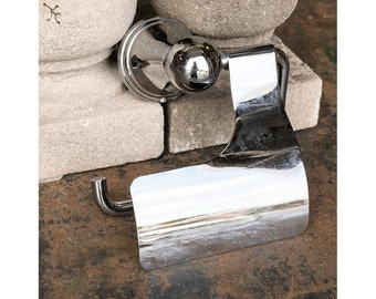 Salvaged Wall Mount Chrome Plated Brass Toilet Paper Holder with Cover Flap