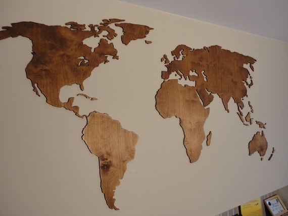 Wooden World Map 3d Wall Decor Hanging Decoration Etsy