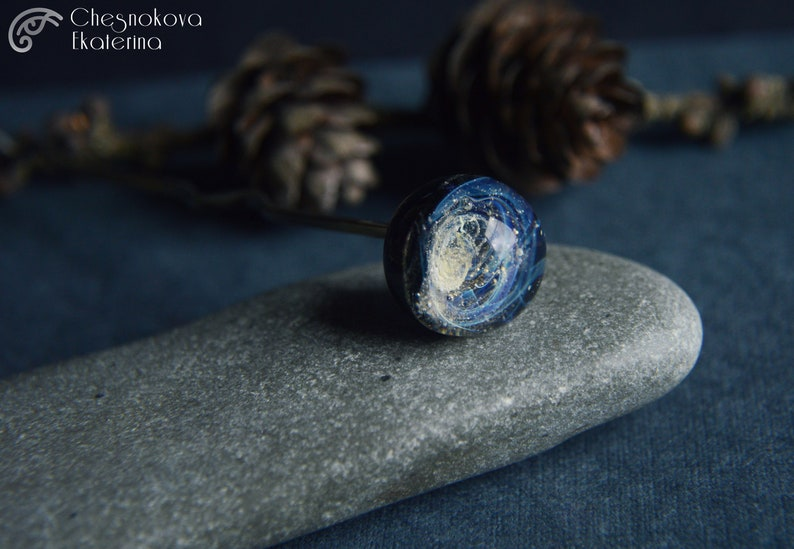 Hairpin Galaxy Glass silver Hair Pin Exclusive Beauty wedding Lampwork sphere Fantasy Gift Jewelry OOAK