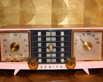 Zenith Radio Etsy. Vintage Zenith Radio Model S21634 Pink And Gold Clock Bluetooth Upgrade Available. Wiring. Zenith Radio Schematic 7h920 At Scoala.co