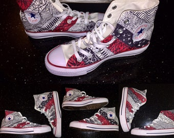 4a50276b865e Twenty One Pilots Blurryface Inspired Converse All-Star Shoes (High   Low  Tops!)