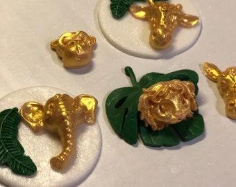 Safari cupcake toppers/ gold safari baby shower, first year safari ,safari theme