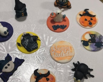 Baby Halloween cupcake toppers/ Halloween baby shower/edible kids Halloween cake toppers