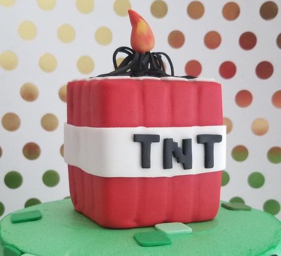 Inspired Tnt Creeper Minecraft Edible Cake Toppers Etsy