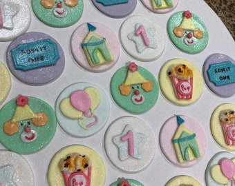 Edible Carnival cupcake toppers/ circus cake toppers
