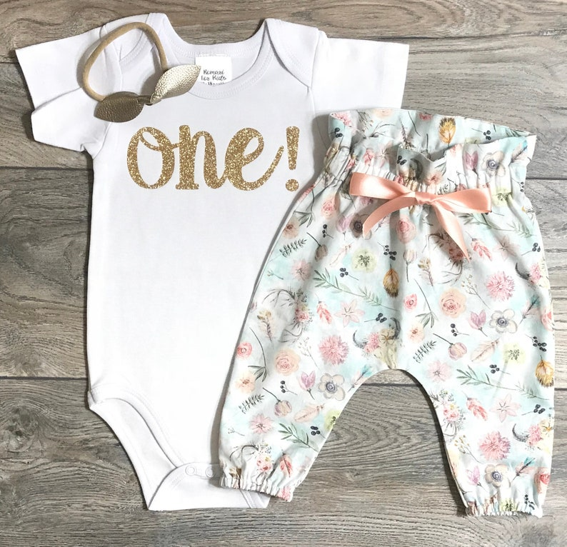 1st birthday gold glitter bodysuit  high waisted boho bull skull pants  bow First birthday outfit baby girl outfit one year old One