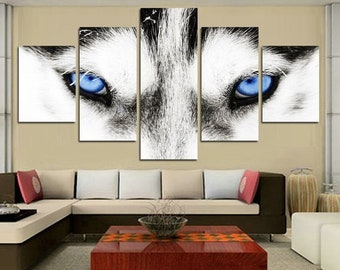 0ffb61e93d7 Wolf Blue Eyes Wildlife Animal Framed 5 Piece Canvas Five Panel Canvas Art  Wall Art Home Decor For Her For Him