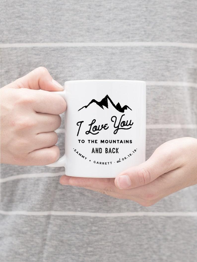 Wedding Favor Mug Outdoorsy Couple Gift Mr Mrs Mug Wedding Keepsake Mug Mountain Mug Mountain Wedding Mug Personalized Mug Custom Mug Couple