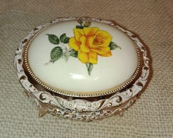 Vintage Prescut Trinket Box with Gold Rose