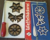 Vintage H.S Waffelbackerei Rosette Maker Cast Iron Cookie Set West Germany - Rosette Maker