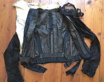 Victorian Black Lace Bodice and Skirt