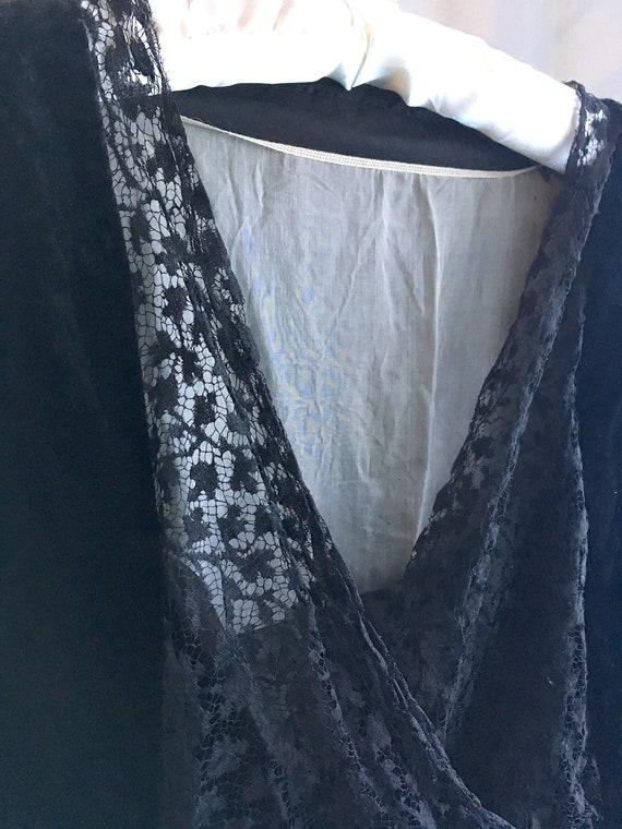 Antique Black Silk Velvet and Lace Dress