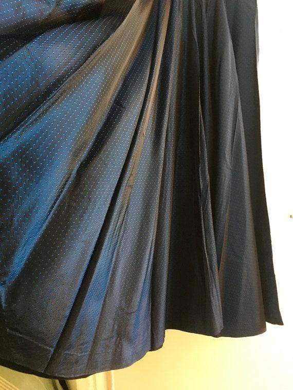 Vintage Blue Polka Dot Taffeta Circle Skirt
