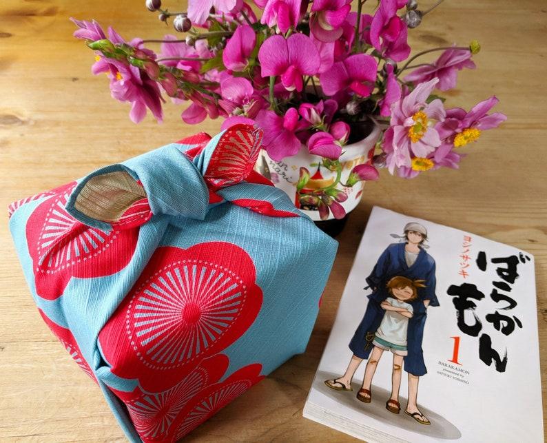 48cm Isa Monyo Reversible Furoshiki | Japanese Apricot Blue/Beige