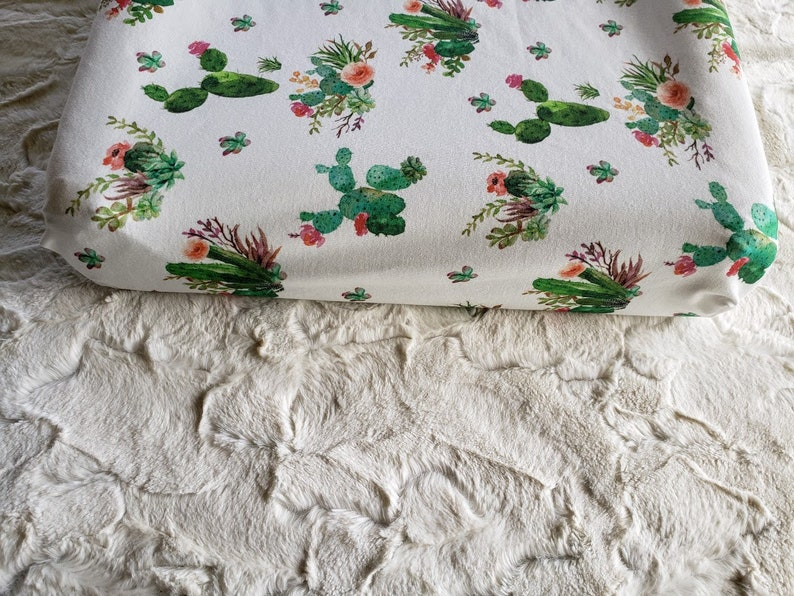 Organic Cotton Bedding Ready to ship Cactus Changing Pad Cover Western Nursery Baby Girl Nursery bedding Desert Flowers Boho Chic Baby