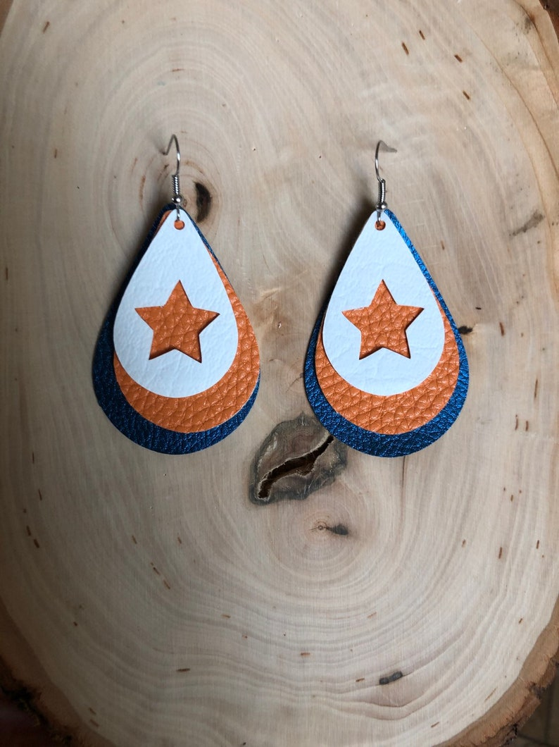 Houston astros earrings/ astros earrings/ houston astros/ astros/ baseball  earrings/ faux leather/ Astros jewelry/ sport jewelry