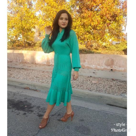 Turquoise knit longsleeve dress/vintage midi dress