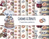 Watercolor Baking Seamless Patterns, Nordic Gnome Digital Paper, Donut Birthday, Baker, Bakery, Cafe, Kitchen, Menu, Candy Shop, Cute Food