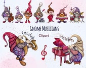 Watercolor Gnome png, Music Clipart, Guitar png, Nordic Gnome, Drum Set Clipart, Sublimation Graphics, Music png, Gnomes Clipart, Rock, Jazz