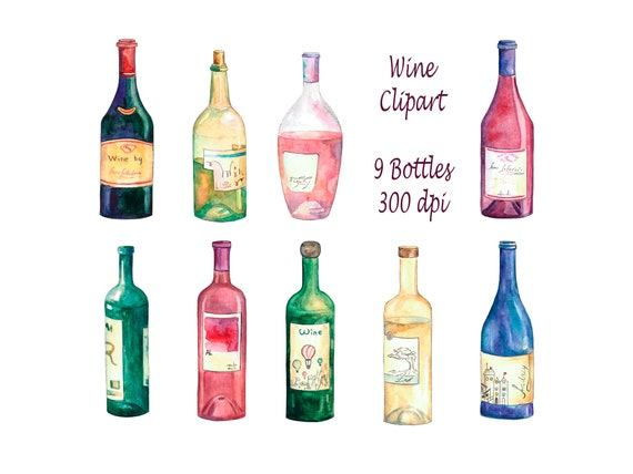 Wine Clipart Bottles Set Watercolor Clip Art Etsy
