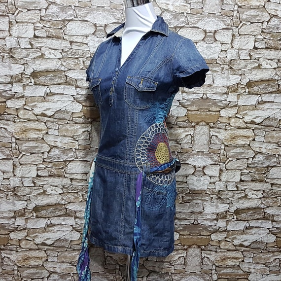vintage Desigual Floral boho hippie jean dresses b