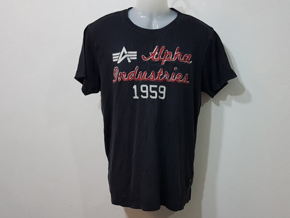 vintage 90s alpha industries shirt black men size: